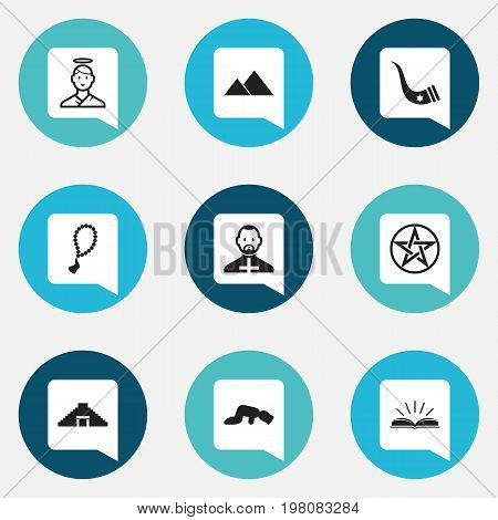 Set Of 9 Editable Religion Icons. Includes Symbols Such As Scripture, Pope, Pyramid And More