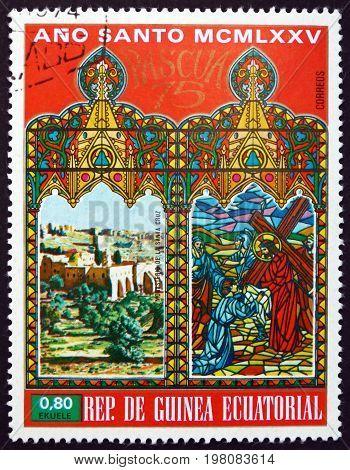 EQUATORIAL GUINEA - CIRCA 1975: a stamp printed in Equatorial Guinea shows Cross Monastery in Jerusalem circa 1975