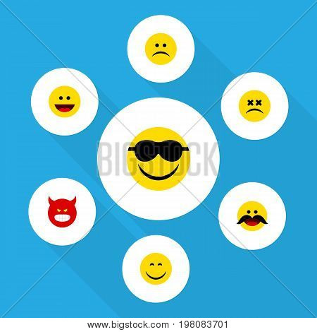Flat Icon Gesture Set Of Smile, Happy, Cross-Eyed Face And Other Vector Objects