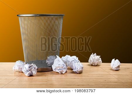 Paper trash can sheets table white background