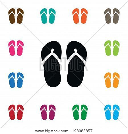 Beach Sandals  Vector Element Can Be Used For Sandals, Flip, Flop Design Concept.  Isolated Flip Flop Icon.