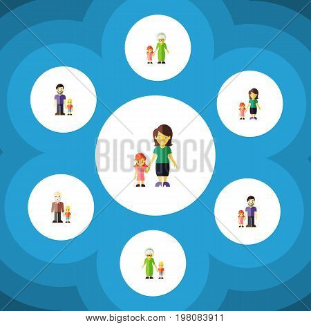 Flat Icon Relatives Set Of Grandma, Daugther, Grandson Vector Objects