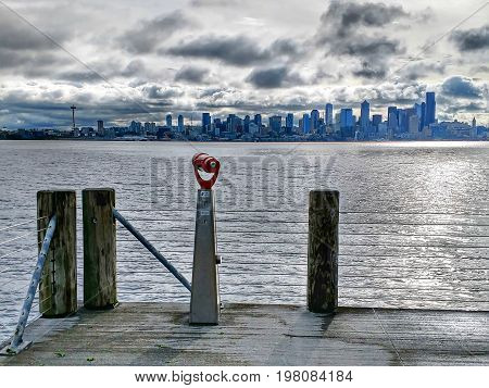 Seattle City Skyline Across Puget Sound And Eliott Bay
