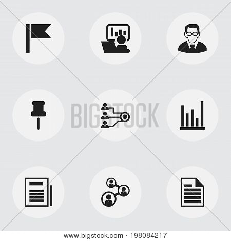 Set Of 9 Editable Bureau Icons. Includes Symbols Such As Unity, Publicity, Pennant And More