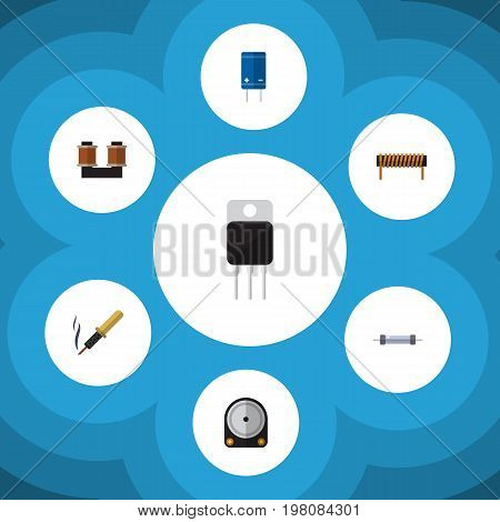 Flat Icon Device Set Of Repair, Resistor, Transistor And Other Vector Objects