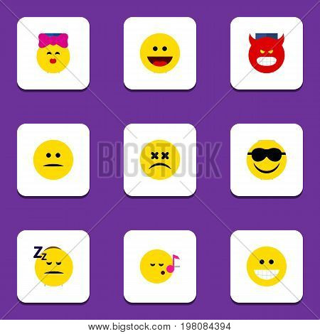 Flat Icon Expression Set Of Happy, Cross-Eyed Face, Grin And Other Vector Objects