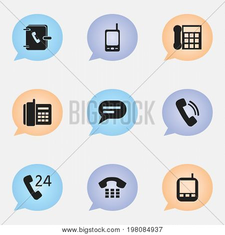 Set Of 9 Editable Device Icons. Includes Symbols Such As Calling Device, Comment, Address Notebook And More
