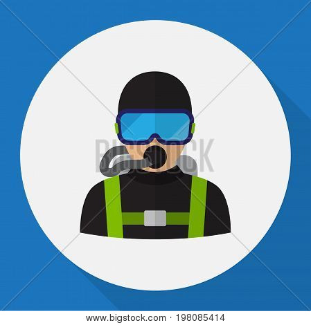 Vector Illustration Of Profession Symbol On Diver Flat Icon