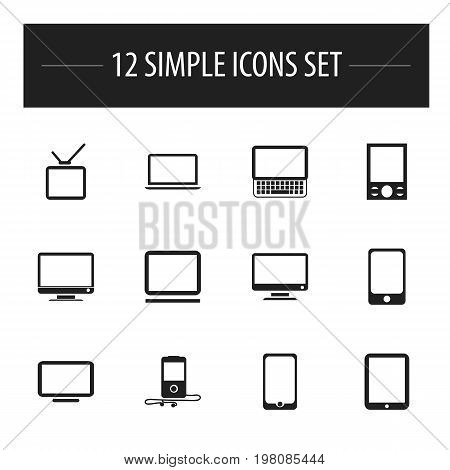 Set Of 12 Editable Devices Icons. Includes Symbols Such As Notebook, Television, Monitor And More