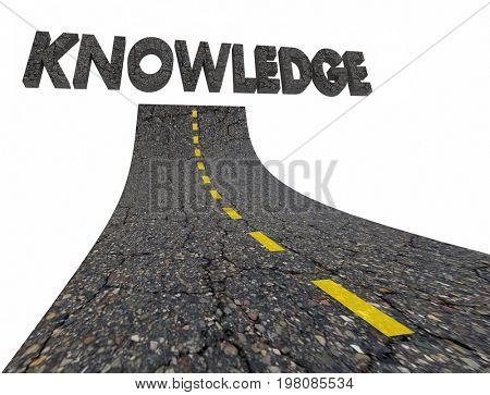 Knwoledge Intelligence Road Words 3d Illustration