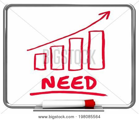Need Customer Demand Going Up Arrow Rising Trend 3d Illustration