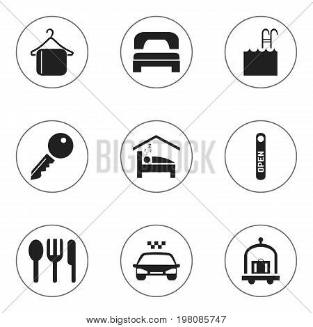 Set Of 9 Editable Travel Icons. Includes Symbols Such As Open Sign, Hanger, Unblock Access And More