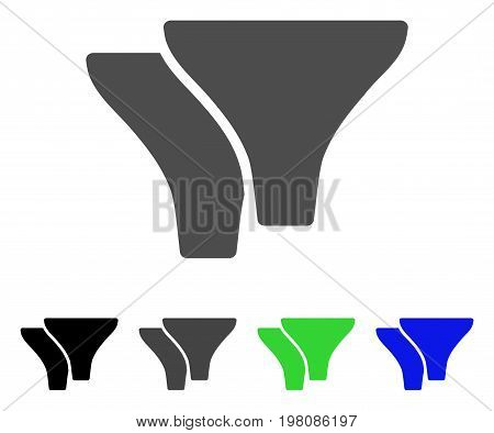Filters flat vector icon. Colored filters, gray, black, blue, green pictogram variants. Flat icon style for web design.