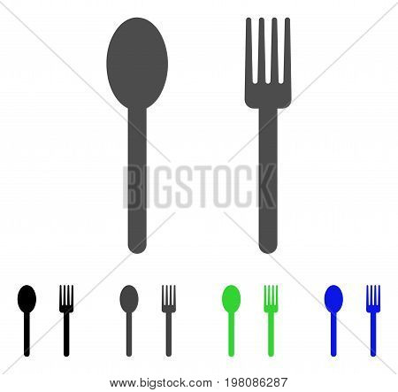 Fork And Spoon flat vector pictogram. Colored fork and spoon, gray, black, blue, green pictogram versions. Flat icon style for web design.
