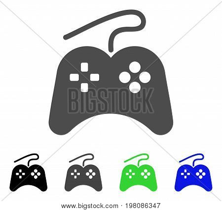 Gamepad flat vector illustration. Colored gamepad, gray, black, blue, green pictogram variants. Flat icon style for graphic design.
