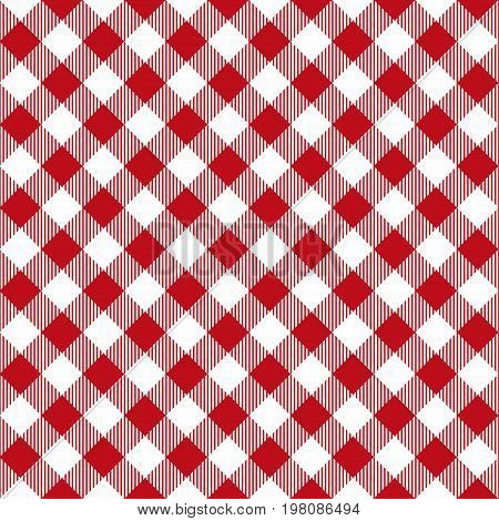 Picnic Table Cloth Seamless Pattern. Red Picnic Plaid Texture