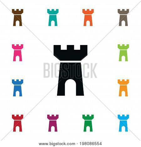 Fortress Vector Element Can Be Used For Castle, Tower, Fortress Design Concept.  Isolated Castle Icon.