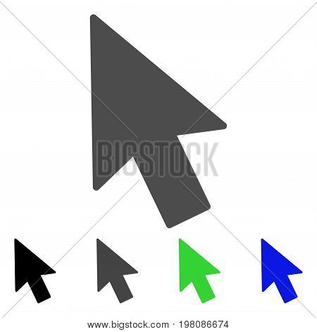 Mouse Cursor flat vector icon. Colored mouse cursor, gray, black, blue, green pictogram versions. Flat icon style for web design.