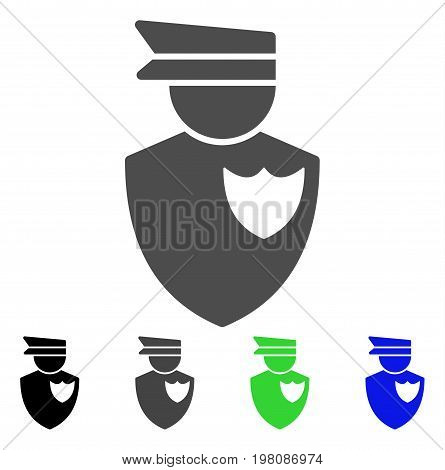 Policeman flat vector pictogram. Colored policeman, gray, black, blue, green icon variants. Flat icon style for application design.