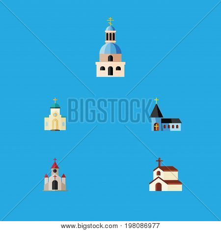 Flat Icon Christian Set Of Church, Traditional, Christian And Other Vector Objects