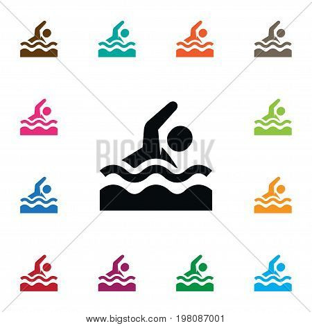 Swimmer  Vector Element Can Be Used For Dive, Swimmer, Swimming Design Concept.  Isolated Dive Icon.