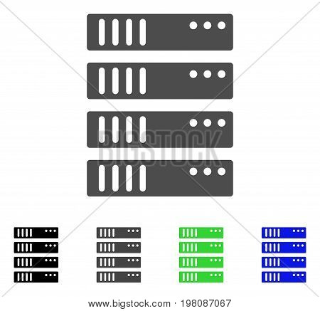 Server flat vector pictogram. Colored server, gray, black, blue, green pictogram variants. Flat icon style for graphic design.