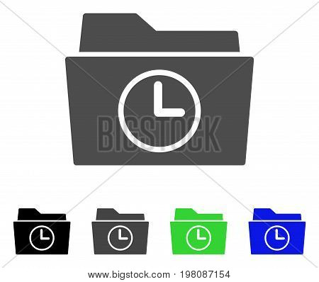 Temporary Folder flat vector pictograph. Colored temporary folder, gray, black, blue, green pictogram variants. Flat icon style for graphic design.