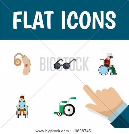 Flat Icon Handicapped Set Of Equipment, Spectacles, Disabled Person And Other Vector Objects