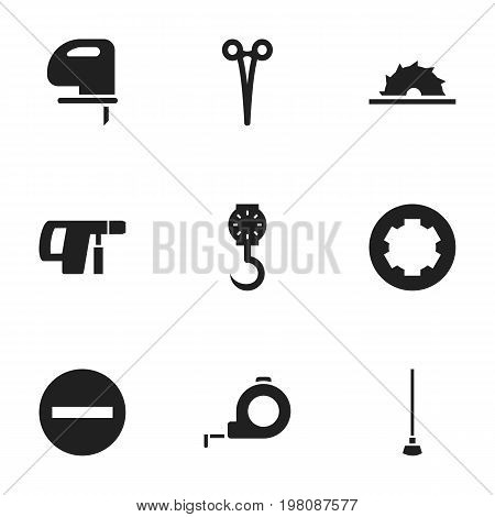 Set Of 9 Editable Apparatus Icons. Includes Symbols Such As Sawblade, Screw Head, Surgical Scissors And More