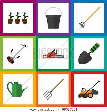 Flat Icon Garden Set Of Trowel, Lawn Mower, Pail And Other Vector Objects