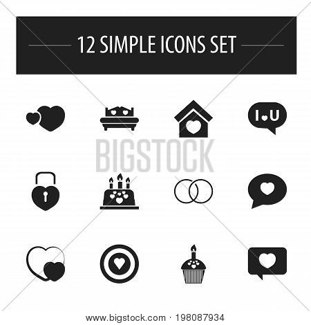 Set Of 12 Editable Love Icons. Includes Symbols Such As Dartboard, Locked Heart, Confession And More