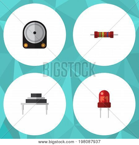 Flat Icon Technology Set Of Hdd, Recipient, Resistance And Other Vector Objects