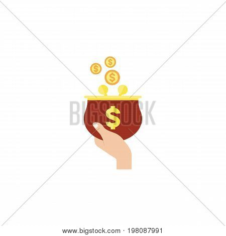 Currency Vector Element Can Be Used For Purse, Currency, Money Design Concept.  Isolated Purse Flat Icon.