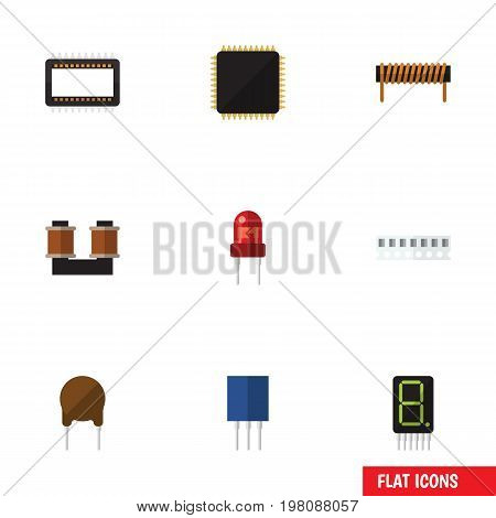 Flat Icon Device Set Of Coil Copper, Memory, Cpu And Other Vector Objects