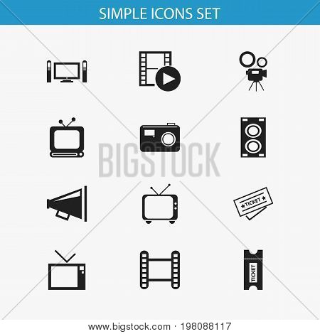 Set Of 12 Editable Filming Icons. Includes Symbols Such As Ticket, Movie Camera, Telly And More