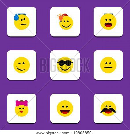 Flat Icon Expression Set Of Happy, Laugh, Have An Good Opinion And Other Vector Objects