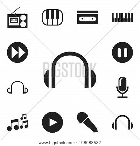 Set Of 12 Editable Mp3 Icons. Includes Symbols Such As Pause, Tape, Synthesizer And More