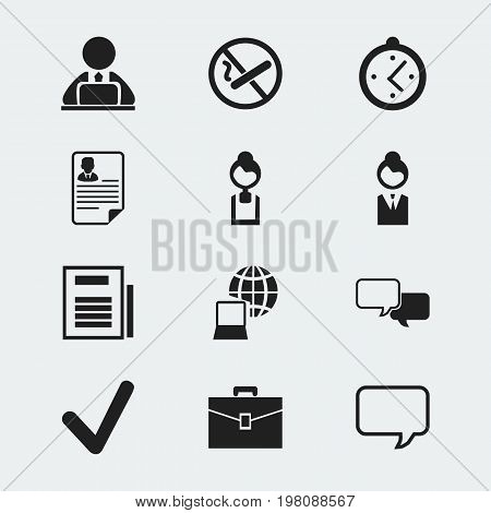Set Of 12 Editable Office Icons. Includes Symbols Such As Conversation, Control, Job Woman And More