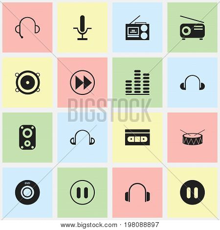 Set Of 16 Editable Sound Icons. Includes Symbols Such As Sound Amplifier, Stop, Headsets And More