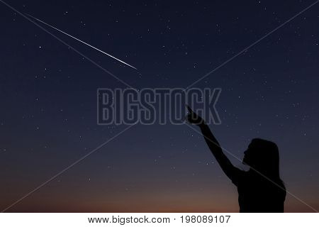 Kid Makes A Wish By Seeing A Shooting Star.