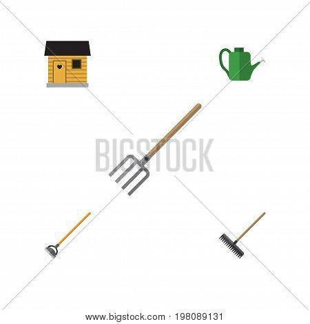 Flat Icon Dacha Set Of Hay Fork, Bailer, Tool And Other Vector Objects