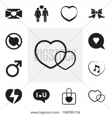 Set Of 12 Editable Passion Icons. Includes Symbols Such As Prohibit, Confession, Music And More