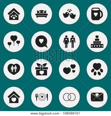 Set Of 16 Editable Amour Icons. Includes Symbols Such As Sparrow, Bubble, Married And More