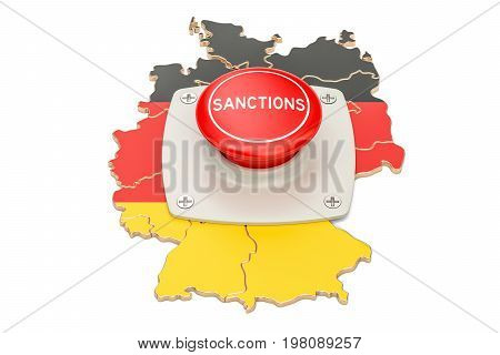 Sanctions button on map of Germany 3D rendering isolated on white background