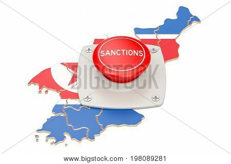 Sanctions button on map of North Korea 3D rendering isolated on white background
