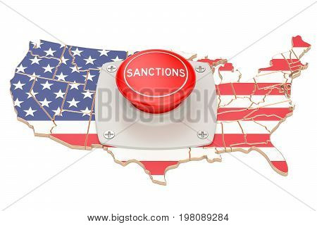 Sanctions button on map of USA 3D rendering isolated on white background