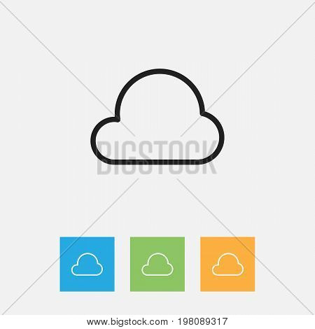 Vector Illustration Of Climate Symbol On Overcast Outline