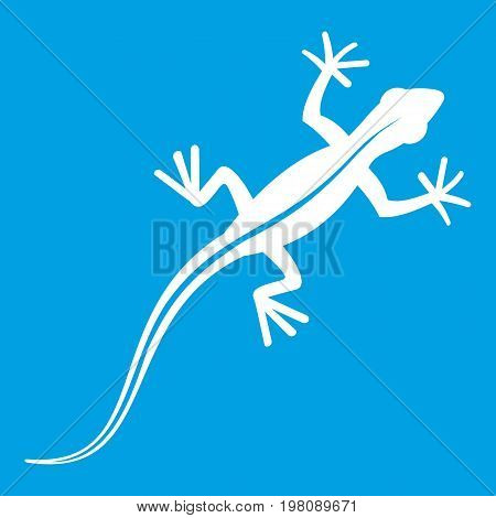 Lizard icon white isolated on blue background vector illustration