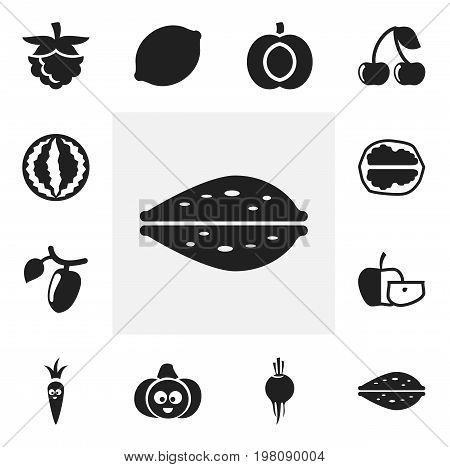 Set Of 12 Editable Cooking Icons. Includes Symbols Such As Nectarine, Radish, Root Vegetable And More