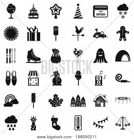 Children holiday icons set. Simple style of 36 children holiday vector icons for web isolated on white background